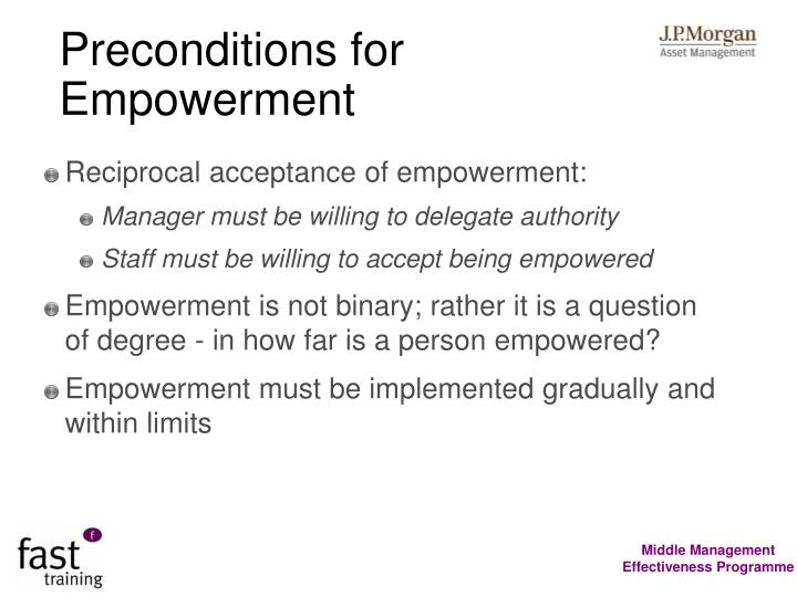 Preconditions for Empowerment
