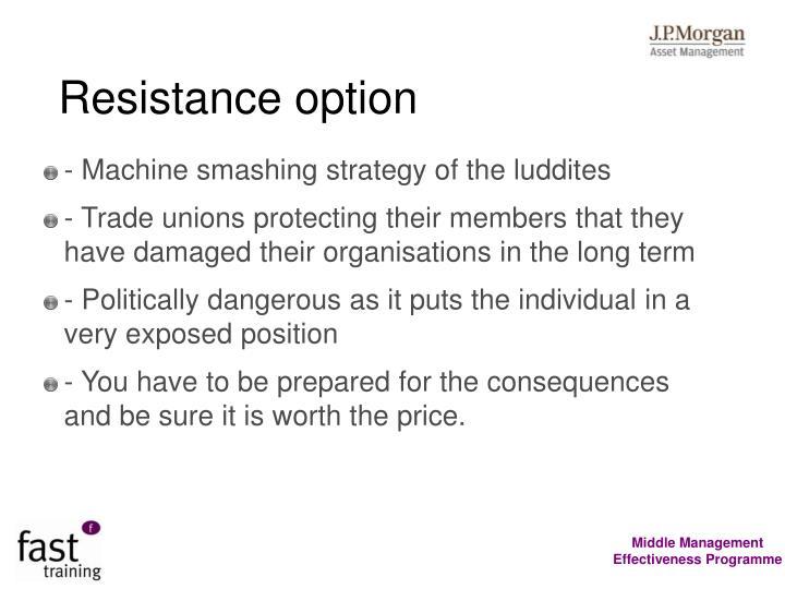 Resistance option