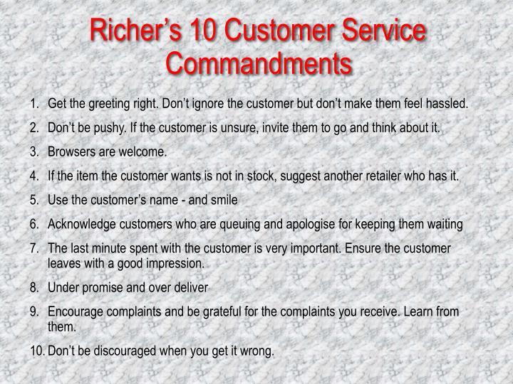 Richer's 10 Customer Service Commandments