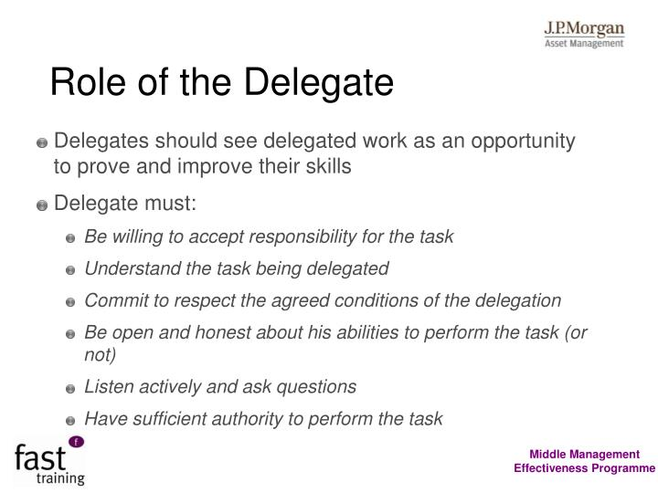 Role of the Delegate