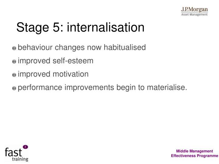 Stage 5: internalisation
