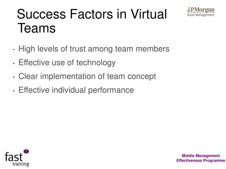 Success Factors in Virtual Teams