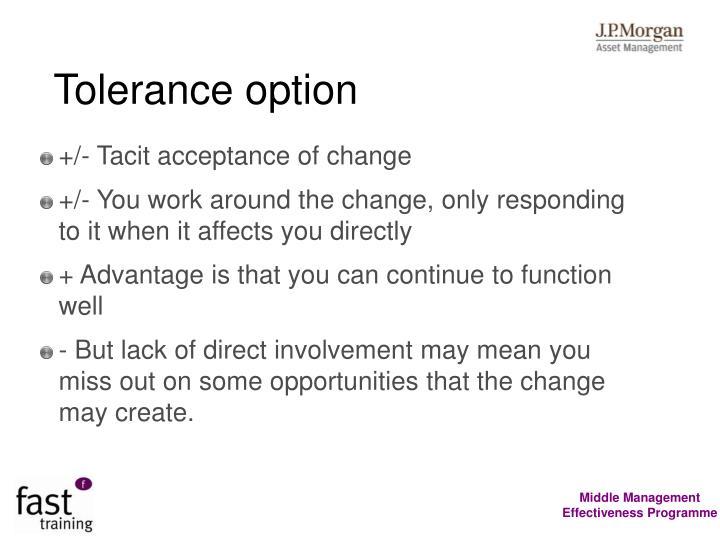Tolerance option