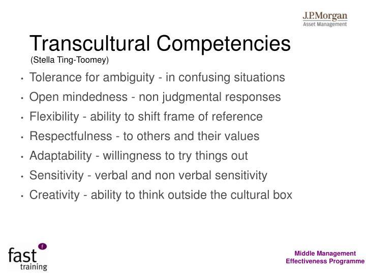 Transcultural Competencies