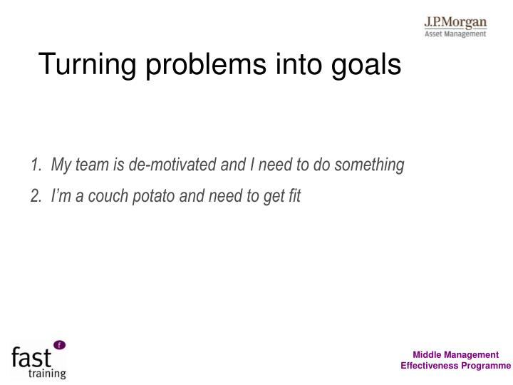Turning problems into goals