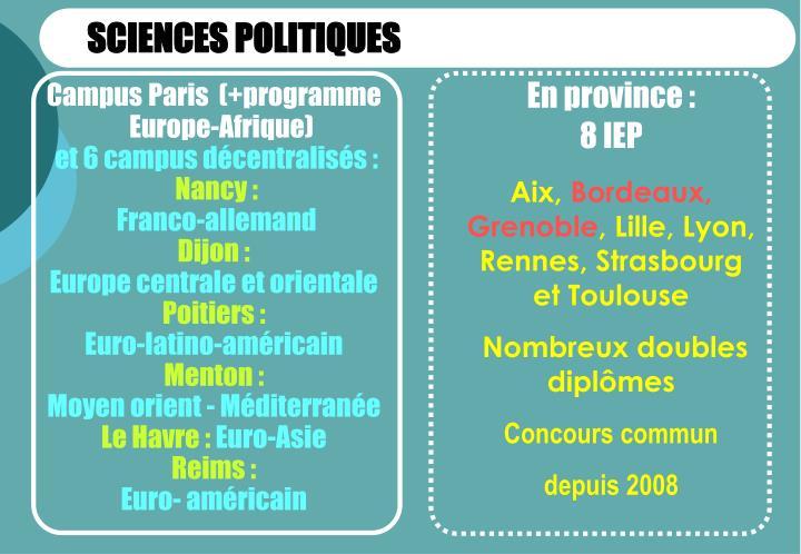 SCIENCES POLITIQUES