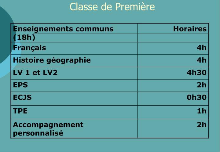 Classe de Première