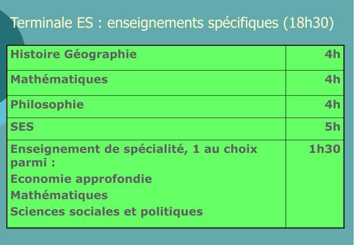 Terminale ES : enseignements spécifiques (18h30)