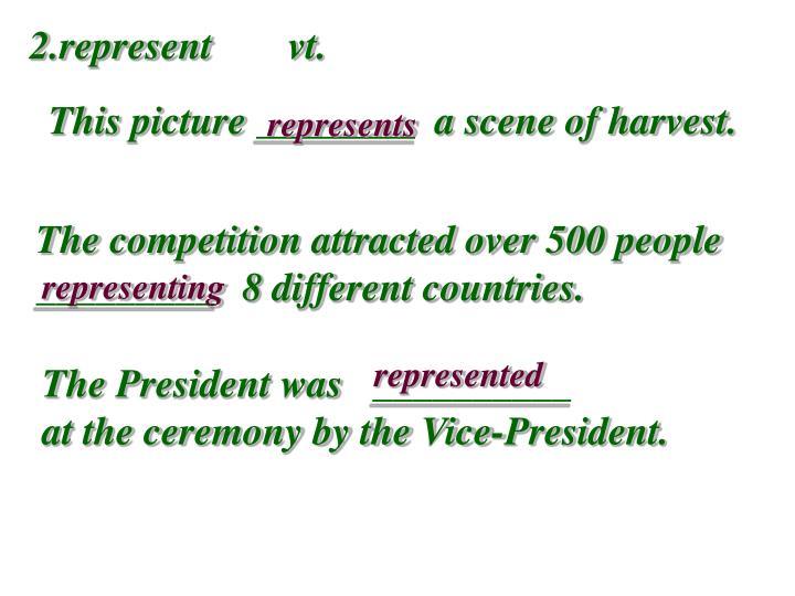 2.represent  vt.