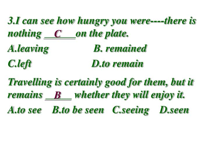3.I can see how hungry you were----there is nothing ______on the plate.