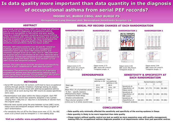 Is data quality more important than data quantity in the diagnosis of occupational asthma from seria...
