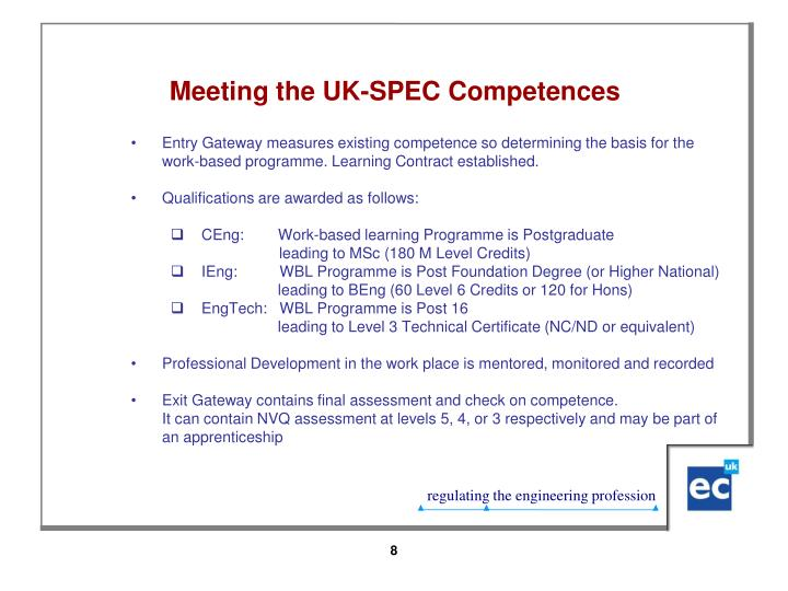 Meeting the UK-SPEC Competences
