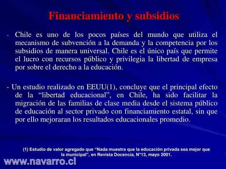 Financiamiento y subsidios