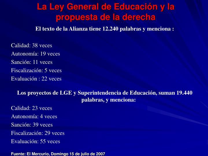 La Ley General de Educación y la