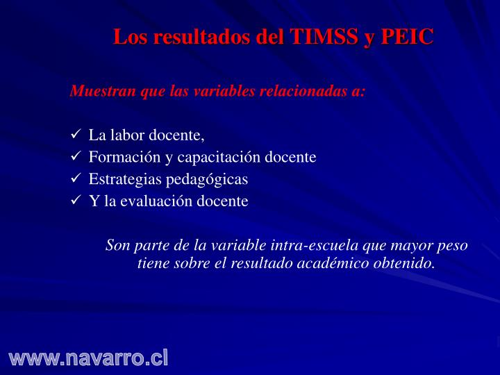 Los resultados del TIMSS y PEIC