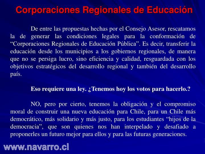 Corporaciones Regionales de Educación