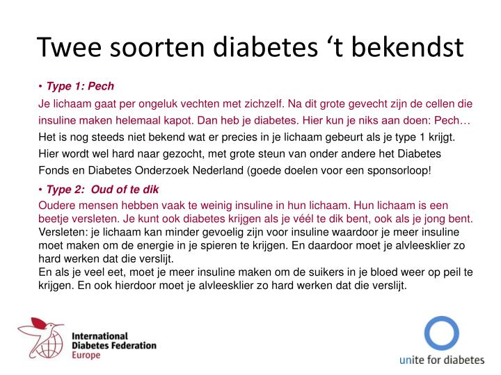 Twee soorten diabetes