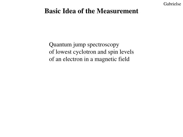 Basic Idea of the Measurement