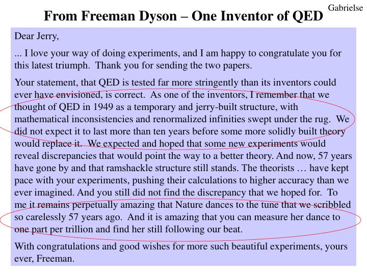 From Freeman Dyson – One Inventor of QED