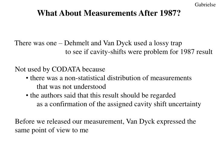 What About Measurements After 1987?