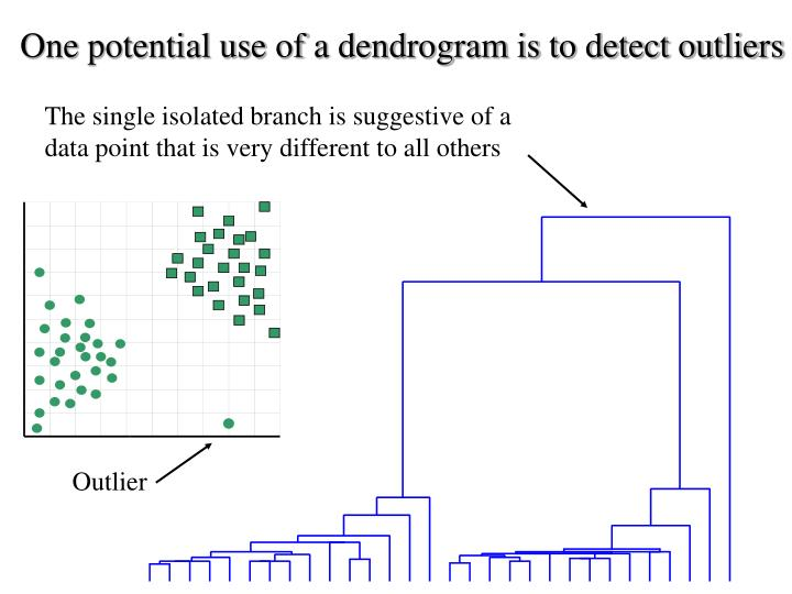One potential use of a dendrogram is to detect outliers