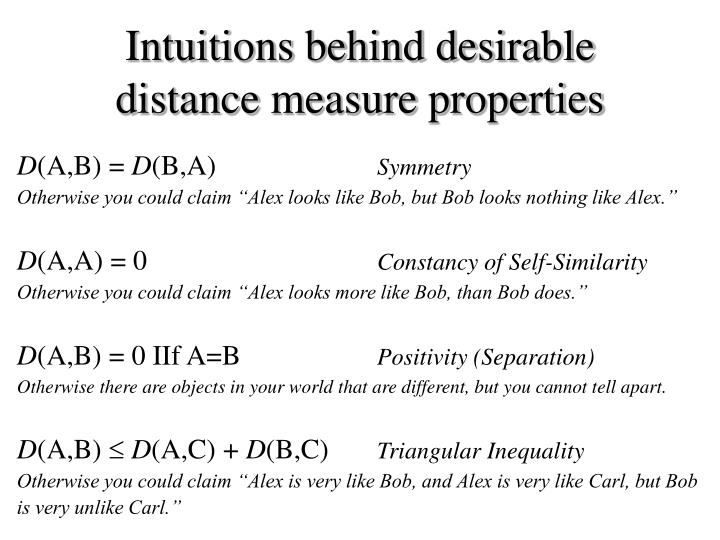 Intuitions behind desirable distance measure properties