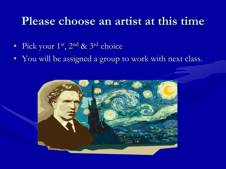 Please choose an artist at this time