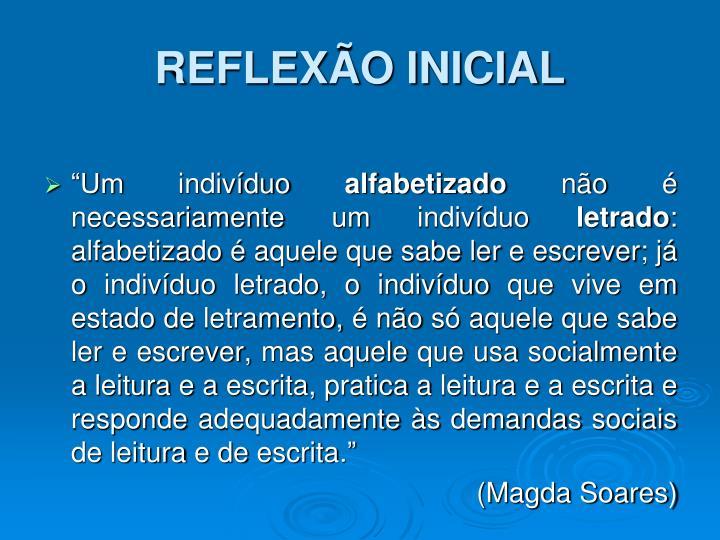 REFLEXÃO INICIAL