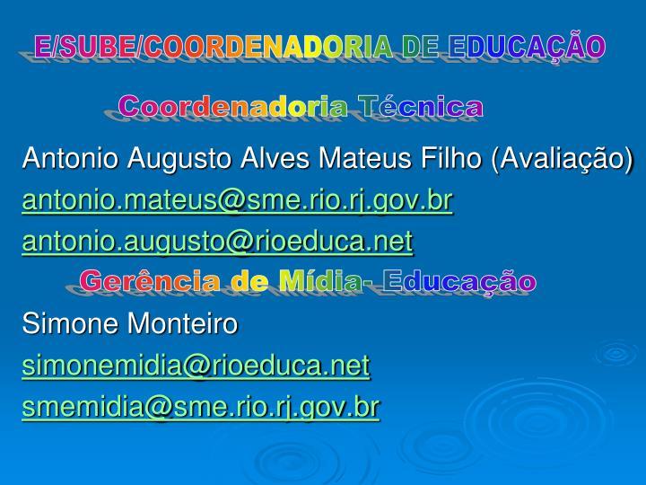 E/SUBE/COORDENADORIA DE EDUCAÇÃO