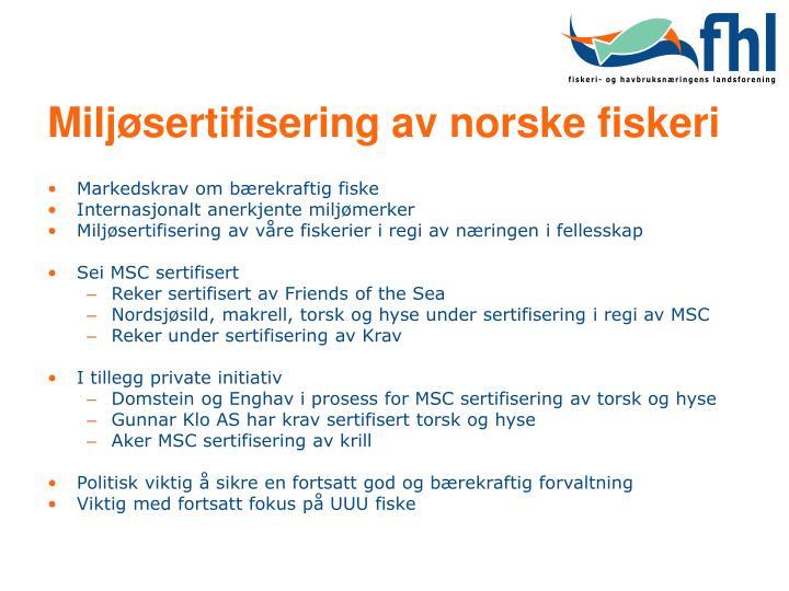 Miljøsertifisering av norske fiskeri