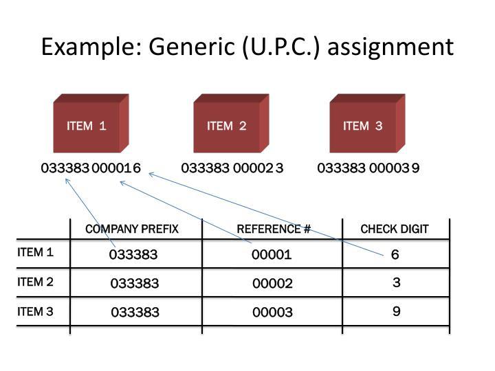 Example: Generic (U.P.C.) assignment