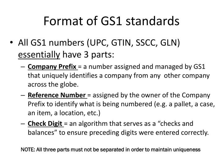 Format of gs1 standards