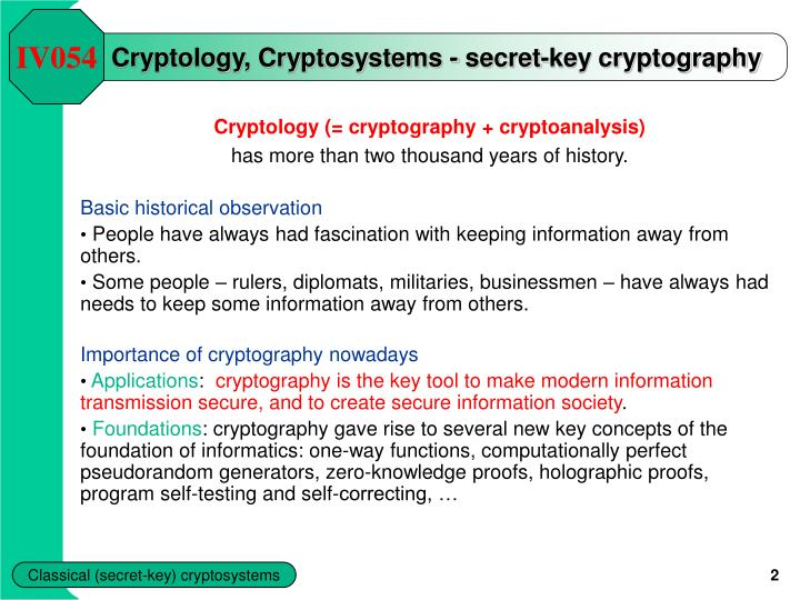 Cryptology cryptosystems secret key cryptography