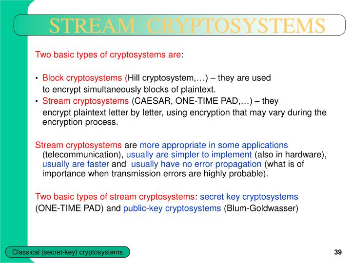 STREAM  CRYPTOSYSTEMS