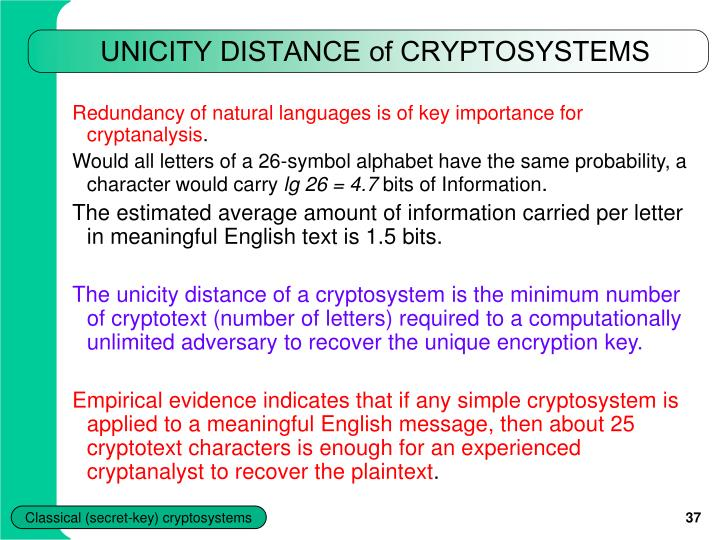 UNICITY DISTANCE of CRYPTOSYSTEMS