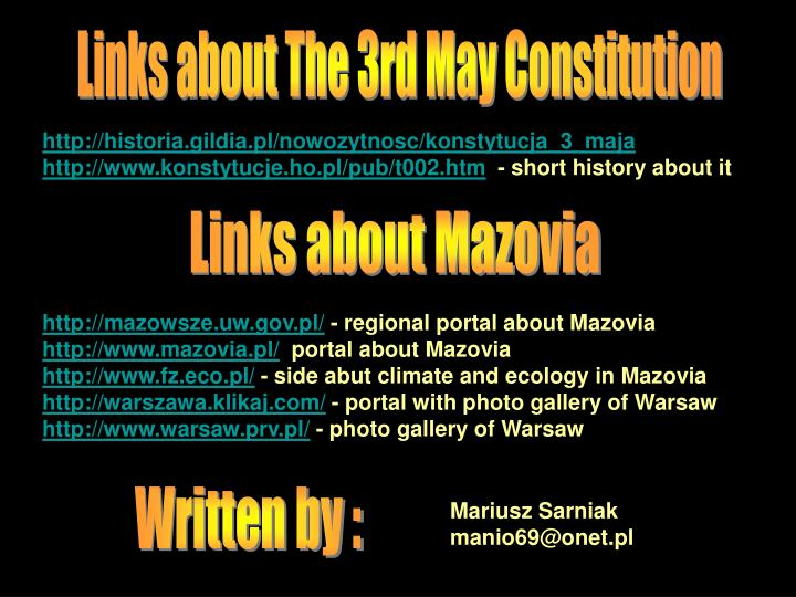 Links about The 3rd May Constitution