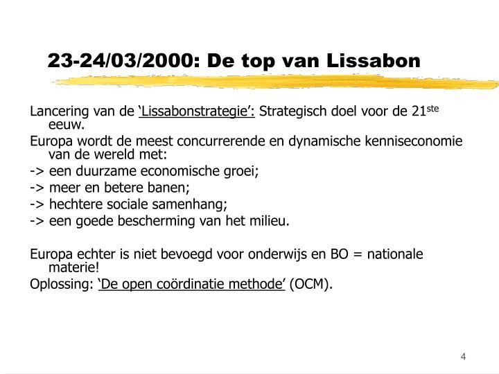 23-24/03/2000: De top van Lissabon
