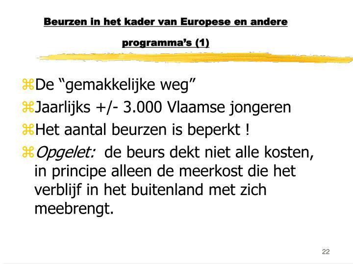 Beurzen in het kader van Europese en andere programma's (1)