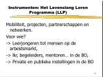 instrumenten het levenslang leren programma llp