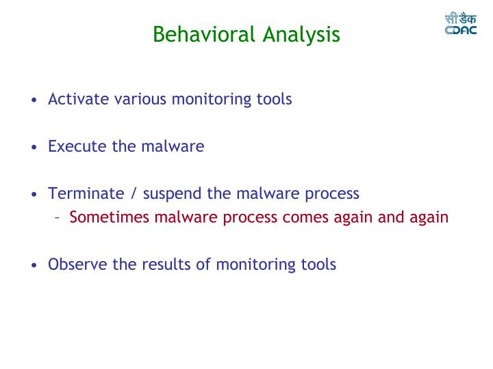 Behavioral Analysis