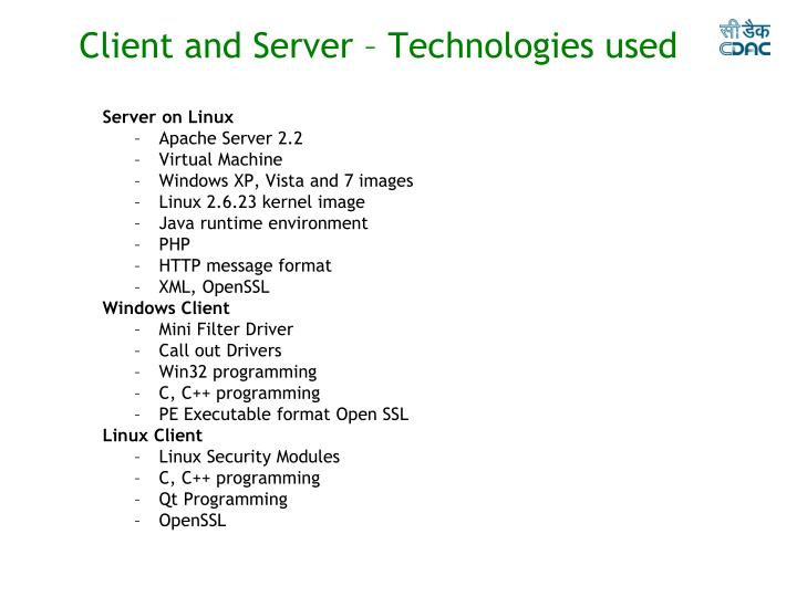 Client and Server – Technologies used