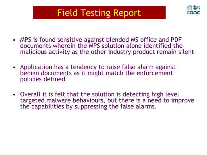 Field Testing Report