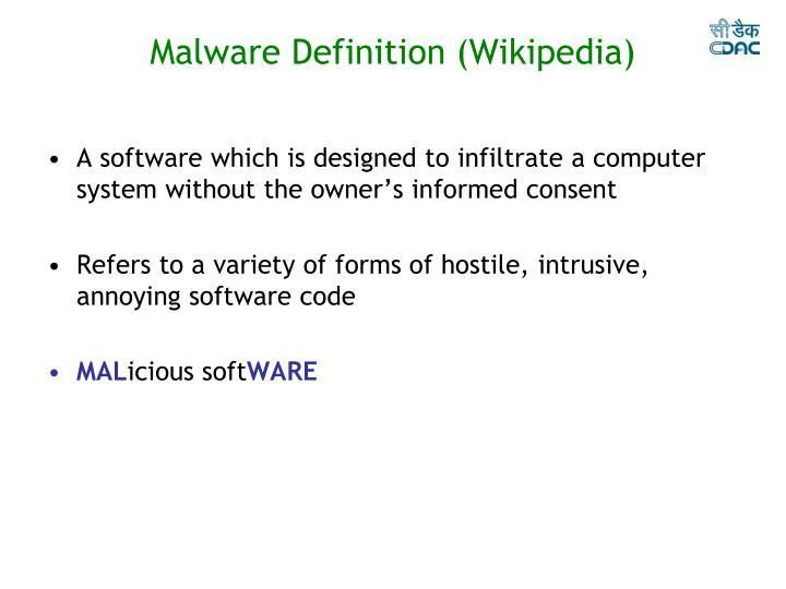 Malware Definition (Wikipedia)