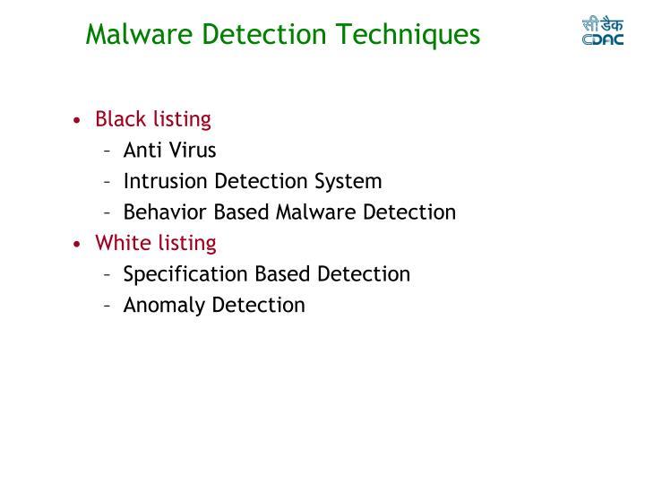Malware Detection Techniques