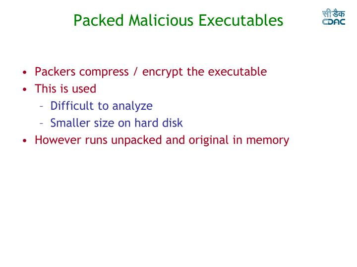 Packed Malicious Executables