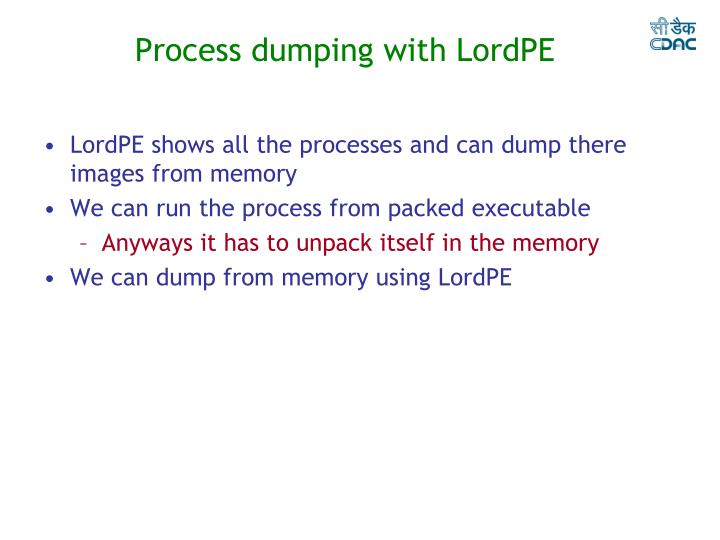 Process dumping with LordPE