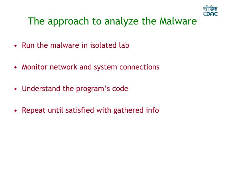 The approach to analyze the Malware