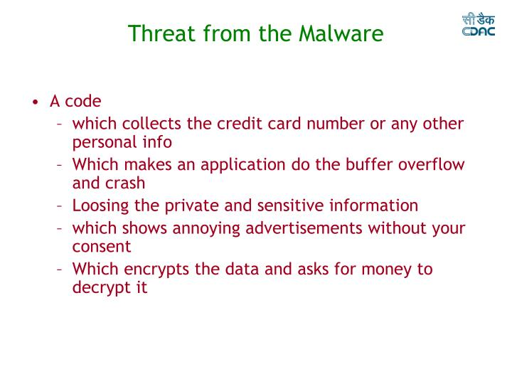 Threat from the Malware