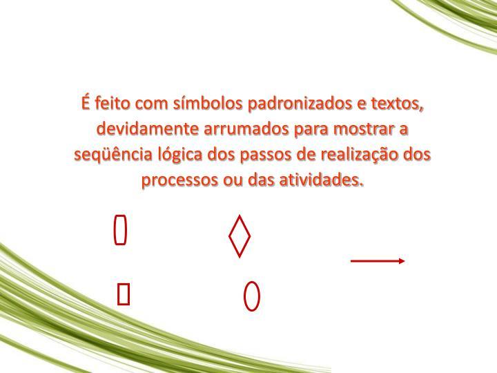 feito com smbolos padronizados e textos, devidamente arrumados para mostrar a seqncia lgica dos passos de realizao dos processos ou das atividades.