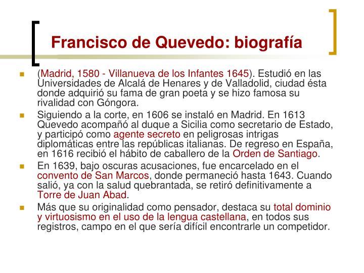 Francisco de Quevedo: biografía